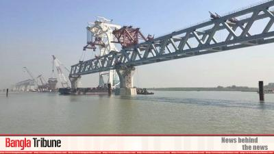 3.9km of Padma Bridge visible with 26th span installed