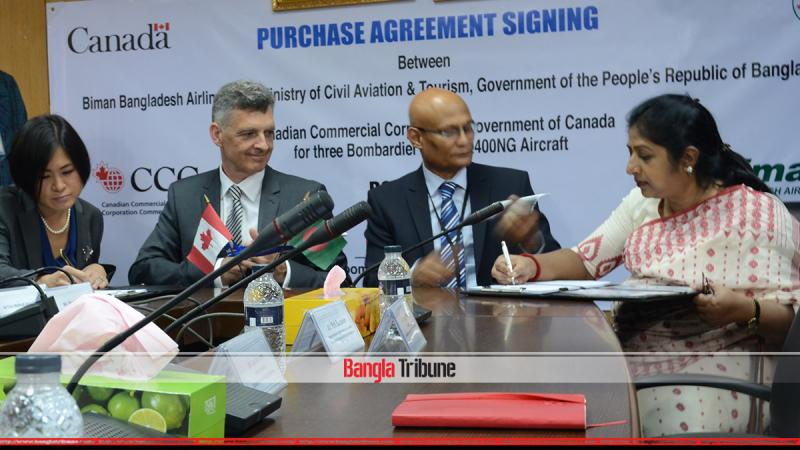 The deal between Biman and Canadian Commercial Corporation (CCC) was inked in Dhaka on Wednesday.