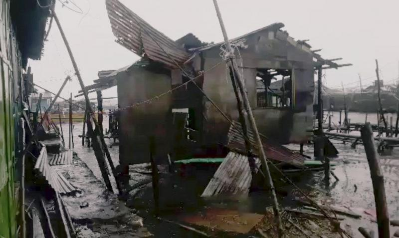 A damaged house is seen after Typhoon Mangkhut hits Philippines, Bolinao, Pangasinan, Philippines September 15, 2018 in this still image obtained from a social media video. REUTERS