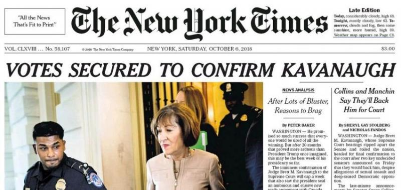 Front page of the The New York Times on Saturday (Oct 6).