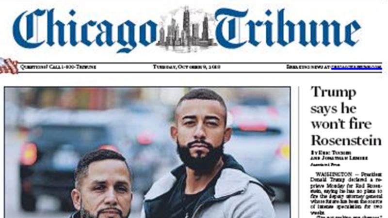 Front page of the Chicago Tribune on Tuesday (Oct 9)