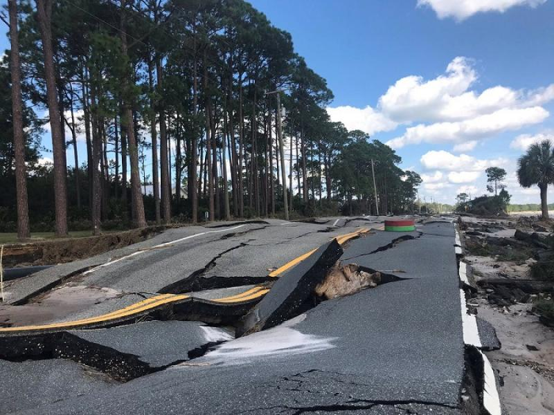 A damaged road after Hurricane Michael blew through Carrabelle, Florida, U.S., October 11, 2018 in this picture obtained from social media. Duke Energy/via REUTERS