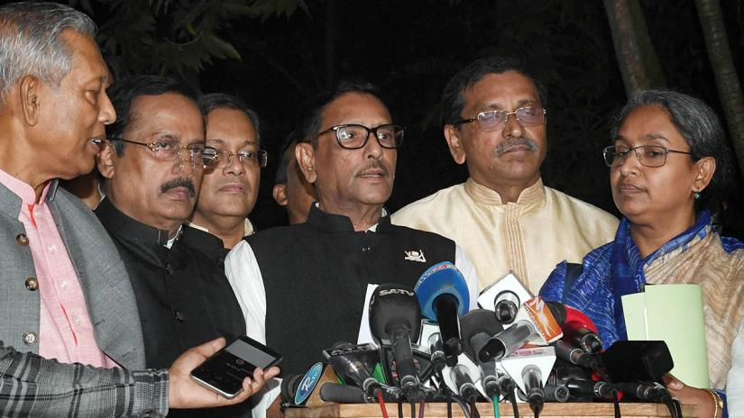Awami League General Secretary Obaidul Quader was addressing a media briefing after the talks at Ganabhaban on Nov 3. FOCUS BANGLA FILE PHOTO