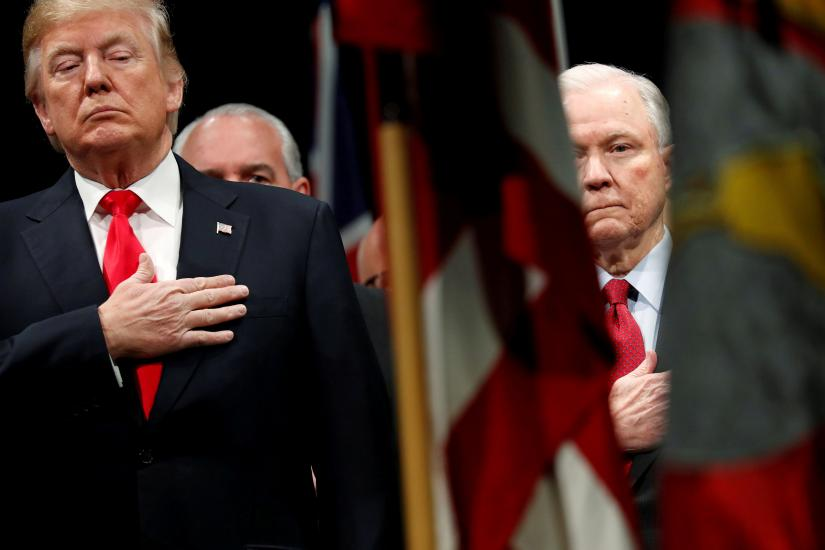 US President Donald Trump and Attorney General Jeff Sessions  participates in a graduation ceremony at the FBI Academy in Quantico. REUTERS/file photo