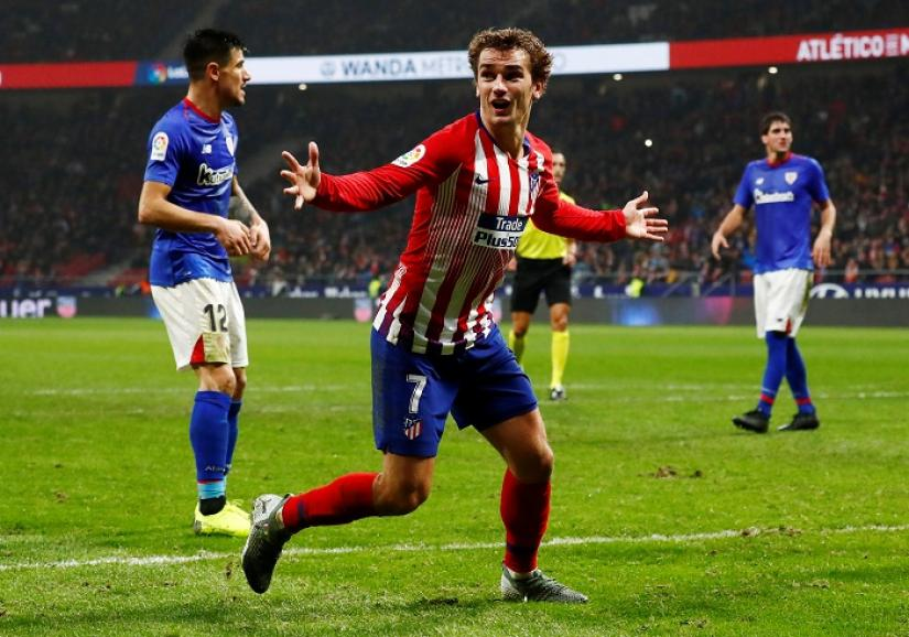 Atletico Madrid`s Antoine Griezmann celebrates after Diego Godin (not pictured) scored their third goal against Athletic Bilbao at Wanda Metropolitano, Madrid, Spain on Nov 10, 2018. REUTERS