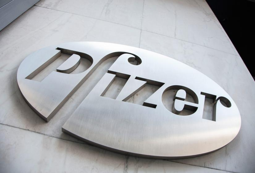 The Pfizer logo is seen at their world headquarters in New York April 28, 2014. REUTERS/File photo