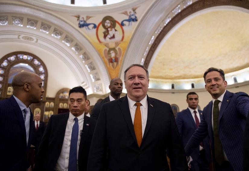 US Secretary of State Mike Pompeo leaves the newly inaugurated Coptic Orthodox Cathedral of the Nativity Christ, east of Cairo, Egypt, January 10, 2019. Andrew Caballero-Reynolds--Pool via REUTERS