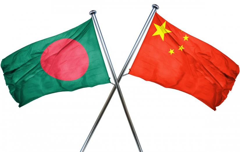 Combination of file photo shows flags of Bangladesh (left) and Chine.