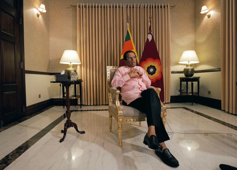 Sri Lanka`s President Maithripala Sirisena speaks during an interview with Reuters at his residence in Colombo, Sri Lanka May 4, 2019. REUTERS