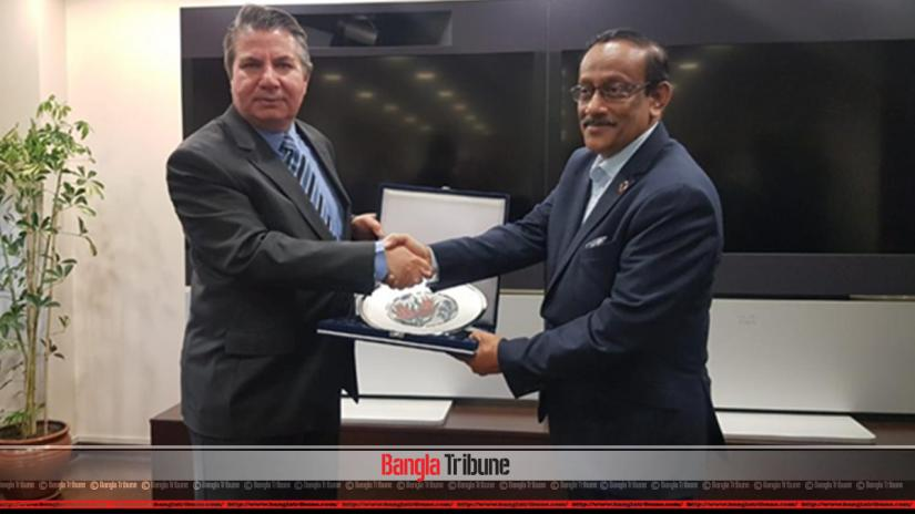 Bangladeshi Foreign Secretary Md Shahidul Haque and Deputy Foreign Minister of Turkey Sedat Önal after a foreign office consultation on Monday (May 22).