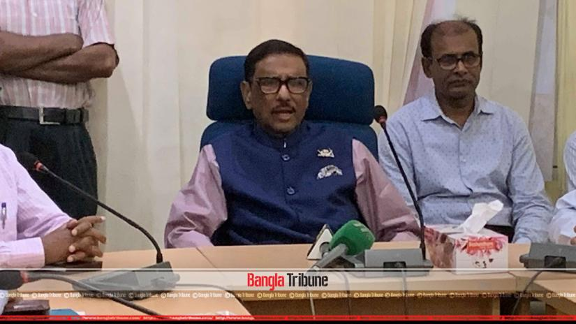 Road Transport and Bridges Minister Obaidul Quader speaking at a program on Thursday (May 30).