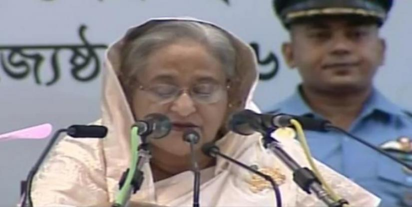 Prime Minister Sheikh Hasina is briefing the media at the event, which started at 3pm on Friday (Jun 14) at the Bangabandhu International Conference Centre in Dhaka.