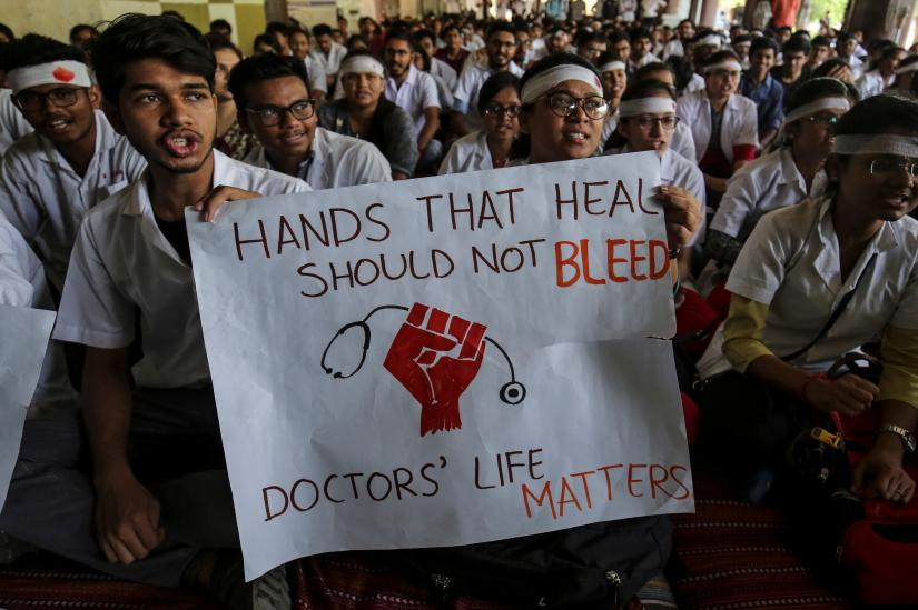 Medical students participate in a protest called by Indian Medical Association (IMA), during a nationwide doctors strike in Ahmedabad, India, June 17, 2019. REUTERS