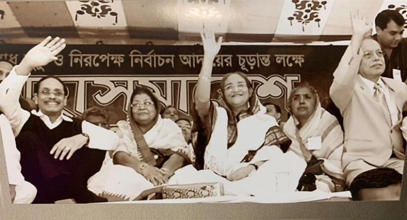 H M Ershad with his political ally Sheikh Hasina