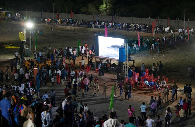 Spectators leave a viewing gallery after India`s second lunar mission, Chandrayaan-2, was called off, in Sriharikota, India, July 15, 2019. REUTERS