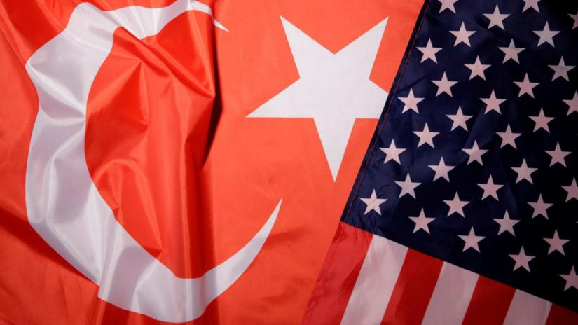 Turkey and US flags are seen in this picture illustration taken Aug 25, 2018. REUTERS/Illustration