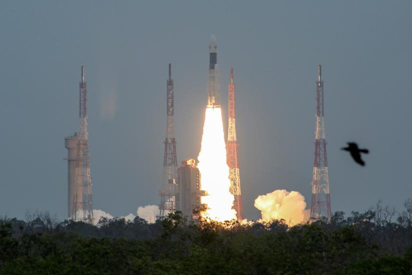 India`s Geosynchronous Satellite Launch Vehicle Mk III blasts off carrying Chandrayaan-2, from the Satish Dhawan space centre at Sriharikota, India, July 22, 2019. REUTERS
