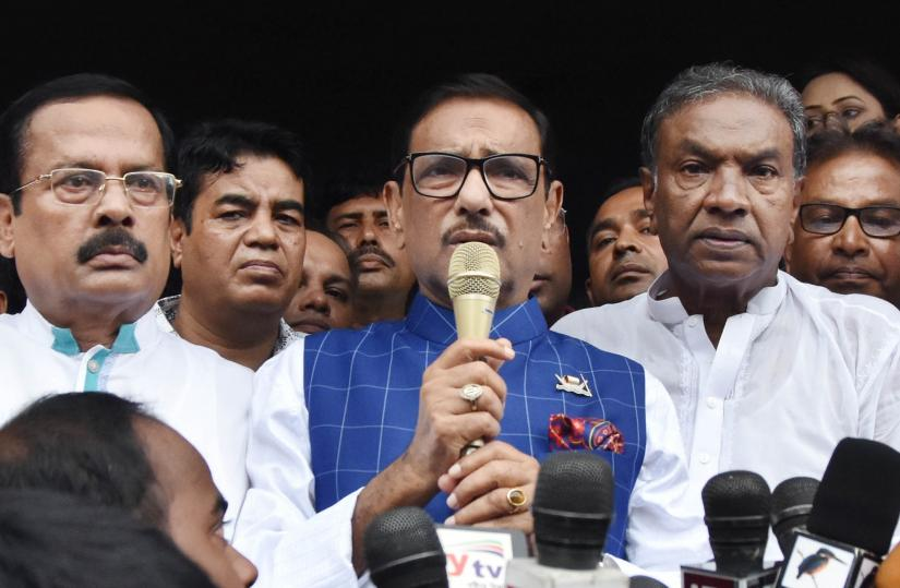 Awami League`s General Secretary Obaidul Quader at Farmgate on Saturday (Aug 3). Focus Bangla