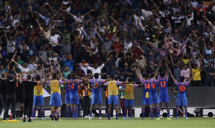 2022 World Cup Qualifier Round 2 - Group E - Qatar v India - Jassim Bin Hamad Stadium, Doha, Qatar - September 10, 2019 India celebrate with fans after the match REUTERS