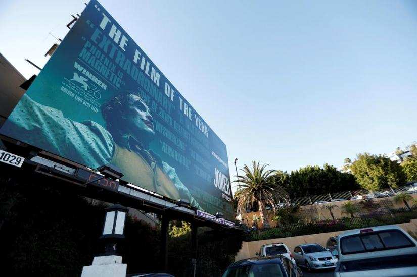 FILE PHOTO: A billboard advertising the film `Joker` is pictured in Los Angeles, California, US, Oct 2, 2019. REUTERS