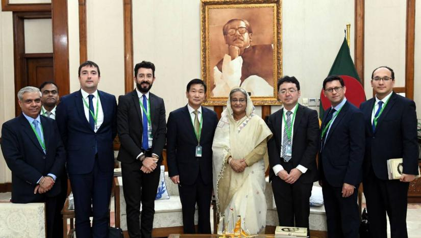 A seven-member delegation meets Prime Minister Sheikh Hasina at her official residence Ganobhaban on Wednesday, Oct 16, 2019. PID