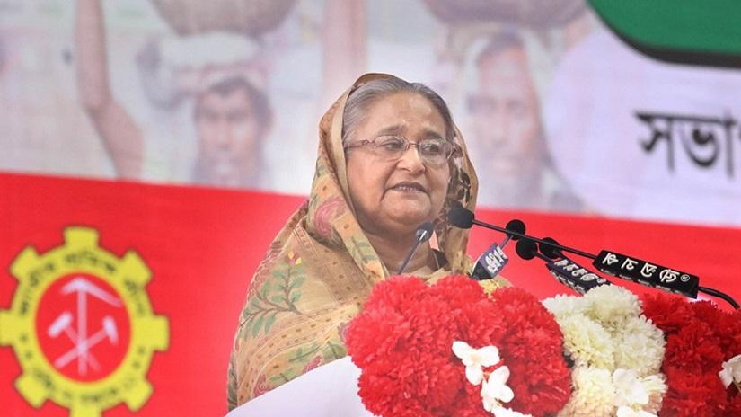 HasinaPrime Minister Sheikh Hasina addressing the 13th council of Jatiya Sramik League at historic Suhrawardy Udyan on Saturday (Nov 9). FOCUS BANGLA