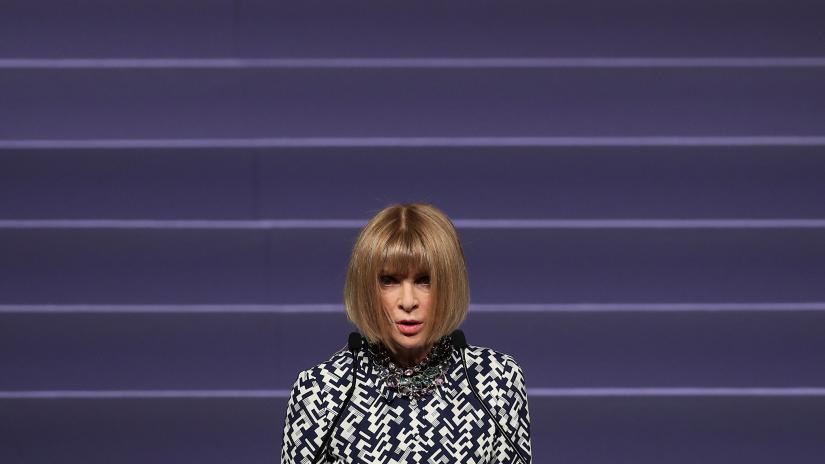 Editor-in-chief of Vogue Anna Wintour delivers a speech during the Vogue `Change Makers` event in Athens, Greece, November 27, 2019. REUTERS