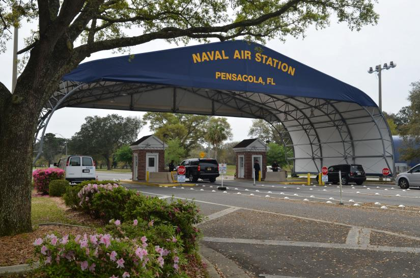 The main gate at Naval Air Station Pensacola is seen on Navy Boulevard in Pensacola, Florida, U.S. March 16, 2016. Picture taken March 16, 2016. U.S. Navy/Handout via REUTERS