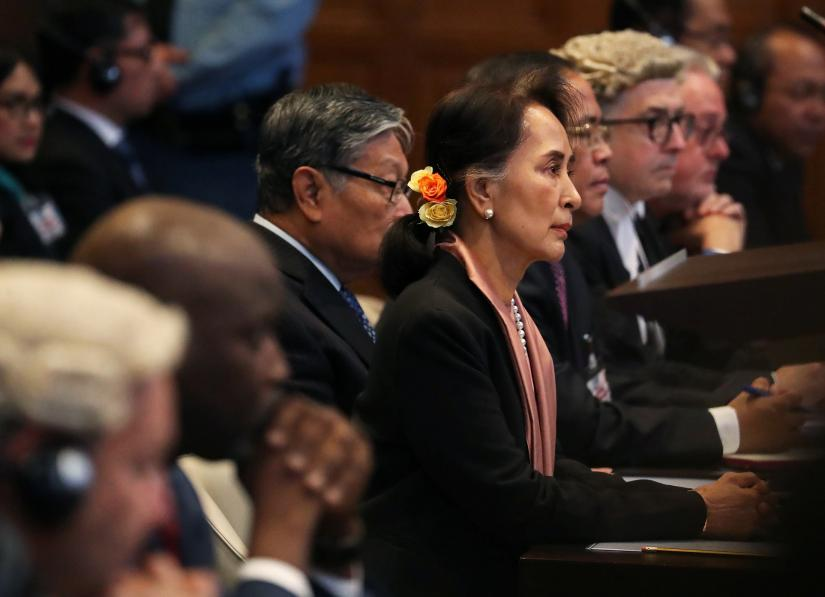Myanmar`s leader Aung San Suu Kyi attends a hearing in a case filed by Gambia against Myanmar alleging genocide against the minority Muslim Rohingya population, at the International Court of Justice (ICJ) in The Hague, Netherlands December 10, 2019. REUTERS