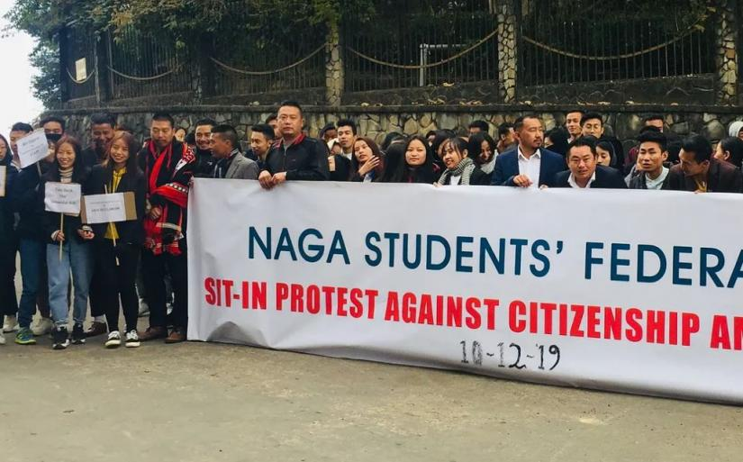 Naga Students' Federation held a peaceful sit-in protest against CAB in Kohima on Tuesday. Photo: EastMojo