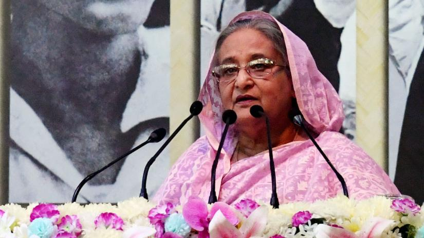 Prime Minister Sheikh Hasina addressing the inaugural ceremony of the month-long Amar Ekushey Book Fair at the Bangla Academy premises, Dhaka, Feb 2, 2019. PID