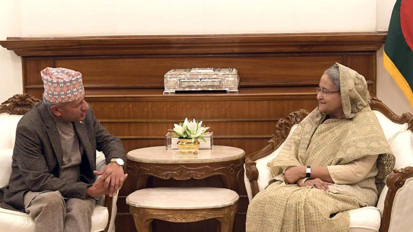 Nepal`s visiting foreign minister Pradip Kumar Gyawali (L) and Prime Minister Sheikh Hasina discussed bilatereal matters at the PMO on Wednesday (Feb 19). Photo: PID